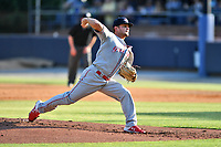 Greenville Drive starting pitcher Chase Shugart (12) delivers a pitch during a game against the Asheville Tourists on May 21, 2021 at McCormick Field in Asheville, NC. (Tony Farlow/Four Seam Images)