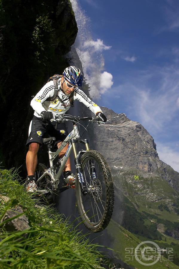 Hans Rey ..GT bicycles , Engelberg , Switzerland   June 2007..pic copyright Steve Behr / Stockfile