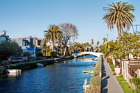 A peaceful winter day on the canals in Venice, California.