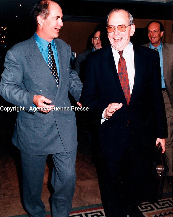 Montreal (Qc) CANADA - June 1999 File Photo-Conference de Montreal,Gil Remillard , Michel Camdessus (R)