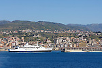 Italy, Calabria, Villa San Giovanni: port at Straits of Messina, car ferries sailing for, entering from Messina