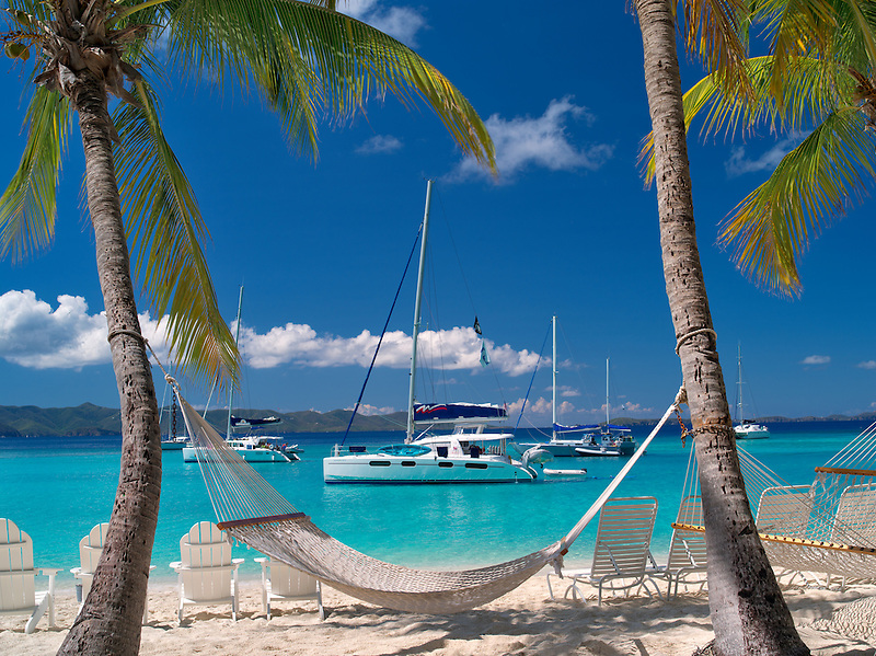 Boats and hammock at Jost Van Dyke. British Virgin Islands