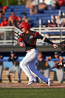 Batavia Muckdogs second baseman Rony Cabrera (26) at bat during a game against the West Virginia Black Bears on June 29, 2016 at Dwyer Stadium in Batavia, New York.  West Virginia defeated Batavia 9-4.  (Mike Janes/Four Seam Images)
