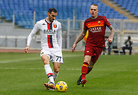 Genoa's Davide Zappacosta, left, is challenged by Roma's Rick Karsdorp, during the Italian Serie A Football match between Roma and Genoa at Rome's Olympic stadium, March 7, 2021.<br /> UPDATE IMAGES PRESS/Riccardo De Luca