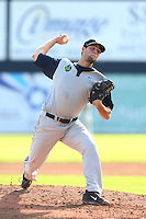 Scott Schultz #37 of the Hillsboro Hops pitches against the Vancouver Canadians at Nat Bailey Stadium on July 24, 2014 in Vancouver, British Columbia. Hillsboro defeated Vancouver, 7-3. (Larry Goren/Four Seam Images)