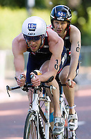 31 MAY 2014 - LONDON, GBR - PT5 category competitor Iain Dawson (GBR) (right) of Great Britain, guided by Matt Ellis, races around Hyde Park in London during the 2014 ITU World Triathlon Series paratriathlon round in Great Britain (PHOTO COPYRIGHT © 2014 NIGEL FARROW, ALL RIGHTS RESERVED)