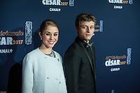 Alice Isaaz, Rod Paradot ‡ la 42e CÈrÈmonie des CÈsars ‡ l'arrivÈe sur le tapis rouge de la salle Pleyel ‡ Paris le 24 fÈvrier 2017