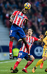 Thomas Teye Partey of Atletico de Madrid heads the ball during the La Liga 2017-18 match between Atletico de Madrid and Girona FC at Wanda Metropolitano on 20 January 2018 in Madrid, Spain. Photo by Diego Gonzalez / Power Sport Images