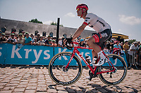 Jasper Stuyven (BEL/Trek-Segafredo) off to the start early, so to start the race in front<br /> <br /> Stage 9: Arras Citadelle > Roubaix (154km)<br /> <br /> 105th Tour de France 2018<br /> ©kramon