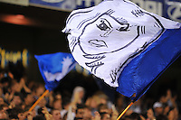 MELBOURNE, AUSTRALIA - FEBRUARY 5, 2010: A supporter flag from Melbourne Victory's cheer squad in round 26 of the A-league match between Melbourne Victory and North Queensland Fury at Etihad Stadium on February 5, 2010 in Melbourne, Australia. Photo Sydney Low www.syd-low.com