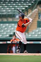 GCL Orioles first baseman J.C. Escarra (10) at bat during a game against the GCL Rays on July 21, 2017 at Ed Smith Stadium in Sarasota, Florida.  GCL Orioles defeated the GCL Rays 9-0.  (Mike Janes/Four Seam Images)