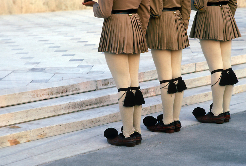"Honor Guard soldiers, Evzone (meaning ""well-armed man""), prepare for a ritual changing of the Guard near the Tomb of the Unknown Soldiers at Constitution Square in Athens."