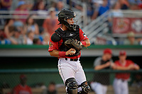 Batavia Muckdogs catcher Andres Sthormes (44) during a NY-Penn League game against the State College Spikes on July 3, 2019 at Dwyer Stadium in Batavia, New York.  State College defeated Batavia 6-4.  (Mike Janes/Four Seam Images)