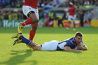 Johan Tromp of Namibia scores his team's opening try  during Match 20 of the Rugby World Cup 2015 between Tonga and Namibia - 29/09/2015 - Sandy Park, Exeter<br /> Mandatory Credit: Rob Munro/Stewart Communications