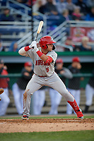 Auburn Doubledays Anthony Peroni (5) bats during a NY-Penn League game against the Batavia Muckdogs on June 14, 2019 at Dwyer Stadium in Batavia, New York.  Batavia defeated 2-0.  (Mike Janes/Four Seam Images)