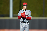 Louisville Cardinals starting pitcher Bobby Miller (15) looks to his catcher for the sign against the Wake Forest Demon Deacons at David F. Couch Ballpark on March 7, 2020 in  Winston-Salem, North Carolina. The Demon Deacons defeated the Cardinals 3-2. (Brian Westerholt/Four Seam Images)
