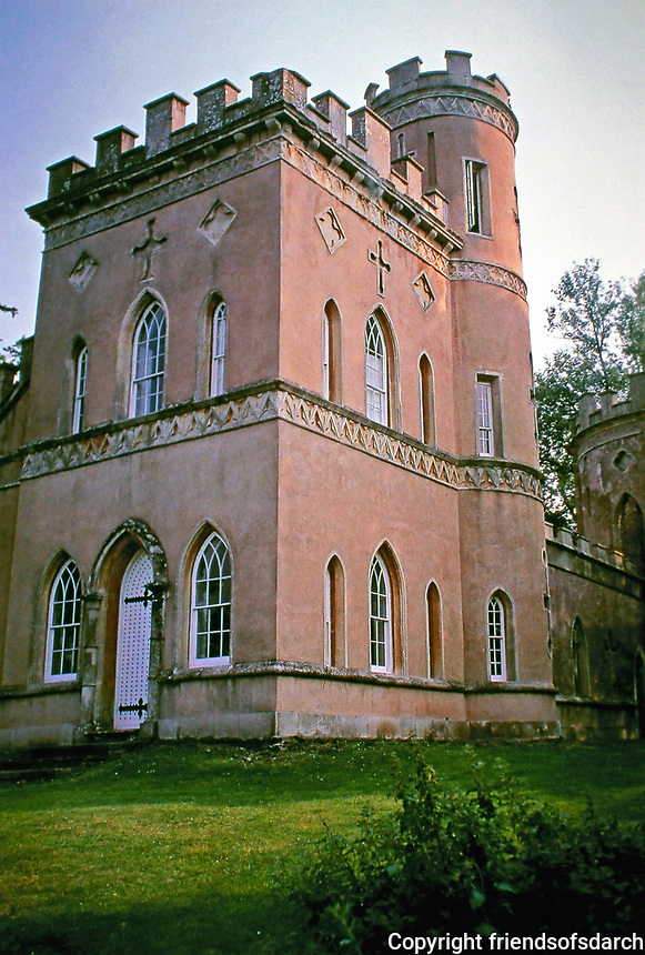 Clytha Castle is a crenellated stone folly with Gothic windows  in Wales. It was built in 1790 for William Jones by John Davenport , architect.