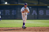 High Point Panthers shortstop Blake Schunk (12) on defense against the NJIT Highlanders at Williard Stadium on February 19, 2017 in High Point, North Carolina. The Panthers defeated the Highlanders 6-5. (Brian Westerholt/Four Seam Images)