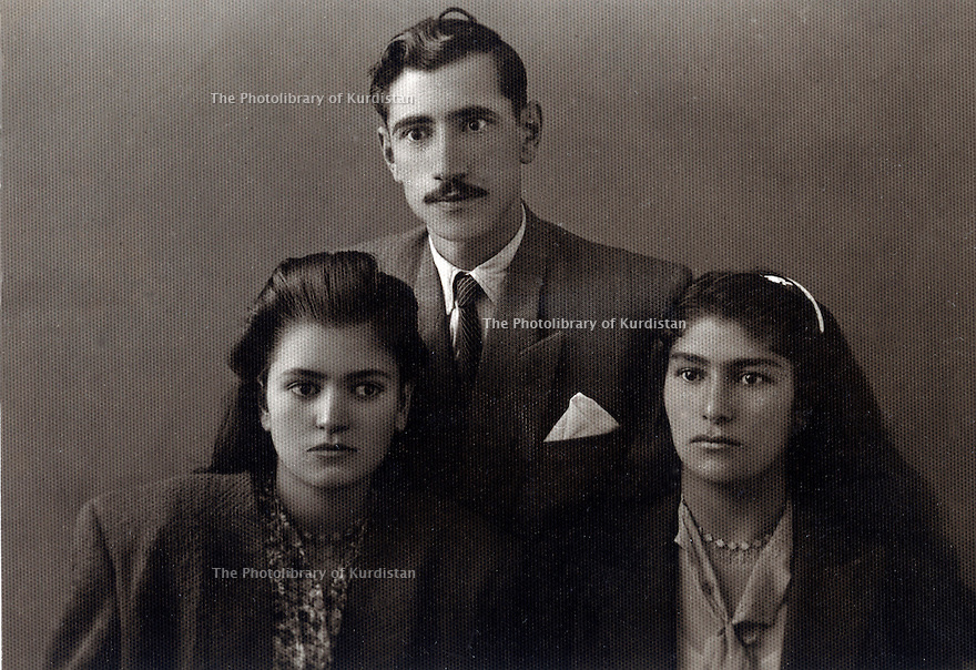 Iran 1949. In the middle, Ahmed Ghassemlou with, left,his sister and right , his niece<br /> <br /> Iran 1949. Au milieu, Ahmed Ghassemlou avec a gauche, sa soeur et a droite, sa niece