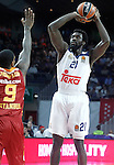 Real Madrid's Othello Hunter (r) and Galatasaray Odeabank Istambul's   Deon Thompson during Euroleague, Regular Season, Round 5 match. November 3, 2016. (ALTERPHOTOS/Acero)