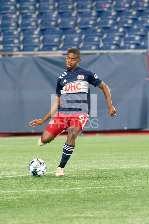 FOXBOROUGH, MA - OCTOBER 09: Maciel #6 of New England Revolution II during a game between Fort Lauderdale CF and New England Revolution II at Gillette Stadium on October 09, 2020 in Foxborough, Massachusetts.