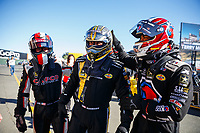 Jul 28, 2017; Sonoma, CA, USA; NHRA top fuel driver Steve Torrence (left) with Tony Schumacher (center) and Antron Brown during qualifying for the Sonoma Nationals at Sonoma Raceway. Mandatory Credit: Mark J. Rebilas-USA TODAY Sports