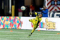 FOXBOROUGH, MA - NOVEMBER 20: Clement Diop #23 of Montreal Impact dives for a shot wide during the Audi 2020 MLS Cup Playoffs, Eastern Conference Play-In Round game between Montreal Impact and New England Revolution at Gillette Stadium on November 20, 2020 in Foxborough, Massachusetts.