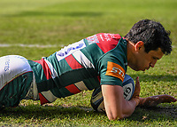 18th April 2021 2021; Recreation Ground, Bath, Somerset, England; English Premiership Rugby, Bath versus Leicester Tigers; Matías Moroni of Leicester Tigers goes over and scores a try
