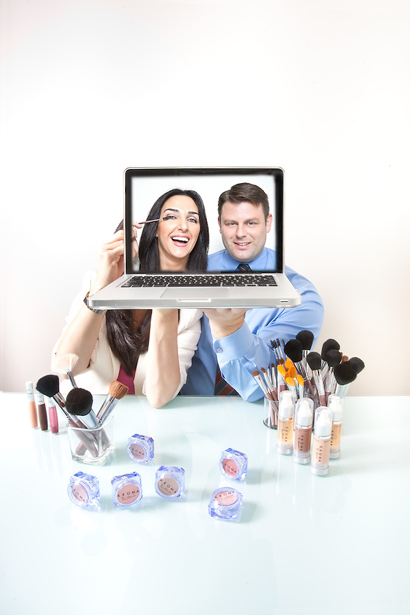 Lee and Christopher Tillett of Kroma Make-up photographed at their Maitland, Florida offices for Business Week's Small Biz