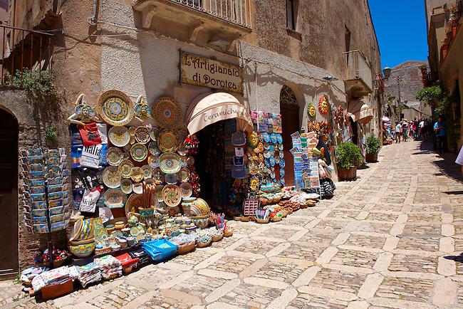 Tourist shops and Sicilian pottery Érice, Erice, Sicily stock photos.