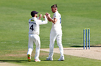 Harry Podmore (R) of Kent is congratulated by Heino Kuhn after taking the wicket of Sean Hunt during Kent CCC vs Sussex CCC, LV Insurance County Championship Group 3 Cricket at The Spitfire Ground on 11th July 2021