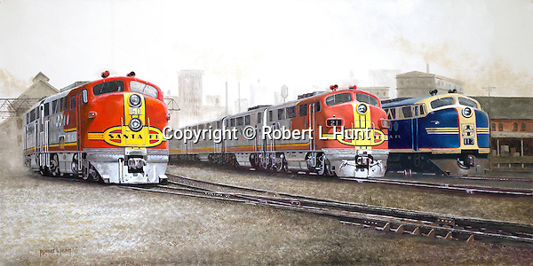 """Santa Fe F unit diesels in classic warbonnet paint readying to leave Argentine Yard in Kansas City, two """"chiefs"""" in red and silver, and one """"brave"""" in blue and yellow. Oil on Canvas, 15"""" x 30""""."""