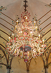 Italy, Piedmont, near Stresa: Isola Madre, the largest of the five Borromean Islands (Isole Borromee) of lake Lago Maggiore, interior of Palazzo Madre - Venetian Salon with chandelier and wall and ceiling paintings | Italien, Piemont, bei Stresa: Isola Madre, die groesste der fuenf Borromaeischen Inseln im Lago Maggiore, der venezianische Salon mit Kronleuchter, Wand- und Deckenbemalungen im Palazzo Madre, heute ein Museum
