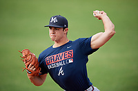 Mississippi Braves pitcher Jesse Biddle (54) warms up before a game against the Montgomery Biscuits on April 24, 2017 at Montgomery Riverwalk Stadium in Montgomery, Alabama.  Montgomery defeated Mississippi 3-2.  (Mike Janes/Four Seam Images)
