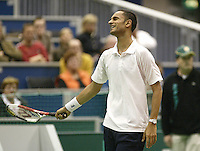 24-2-06, Netherlands, tennis, Rotterdam, ABNAMROWTT, Arvind Parmar in defeat against Christophe Rochus