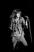 """Denver, Colorado<br /> USA<br /> May 9, 1983<br /> <br /> Front-man and Ramones singer: Joey Ramone in concert<br /> <br /> The Ramones were an American rock band that formed in Forest Hills, Queens, New York in 1974, often cited as the first punk rock group. Despite achieving only limited commercial success, the band was a major influence on the punk rock movement both in the United States and the United Kingdom.<br /> <br /> All of the band members adopted pseudonyms ending with the surname """"Ramone"""", though none of them were actually related. They performed 2,263 concerts, touring virtually nonstop for 22 years. In 1996, after a tour with the Lollapalooza music festival, the band played a farewell show and disbanded.<br /> <br /> By a little more than eight years after the breakup, the band's three founding members--lead singer Joey Ramone, guitarist Johnny Ramone, and bassist Dee Dee Ramone--had all died."""