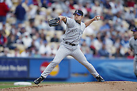 Mike Hampton of the Colorado Rockies pitches during a 2002 MLB season game against the Los Angeles Dodgers at Dodger Stadium, in Los Angeles, California. (Larry Goren/Four Seam Images)