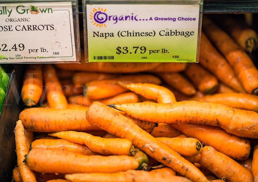 Fresh organic carrots in market.