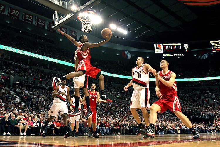 Houston's Aaron Brooks make a reverse lay up in the Blazers' 88-77 win over the Rockets in game five of the first round playoff game between the Blazers and Rockets April 28, 2009..Photo by Jaime Valdez