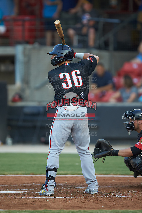 Tres Barrera (36) of the Potomac Nationals at bat during the 2018 Carolina League All-Star Classic at Five County Stadium on June 19, 2018 in Zebulon, North Carolina. The South All-Stars defeated the North All-Stars 7-6.  (Brian Westerholt/Four Seam Images)