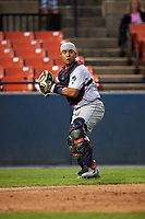 Lynchburg Hillcats catcher Li-Jen Chu (27) looks to throw to first after a dropped swinging strike three call during the second game of a doubleheader against the Frederick Keys on June 12, 2018 at Nymeo Field at Harry Grove Stadium in Frederick, Maryland.  Frederick defeated Lynchburg 8-1.  (Mike Janes/Four Seam Images)