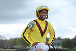 HOT SPRINGS, AR - MARCH 12: Jockey Ricardo Santana Jr. is all smiles after winning the Honeybee Stakes aboard Terra Promessa (5) at Oaklawn Park on March 12, 2016 in Hot Springs, Arkansas. (Photo by Justin Manning)