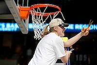 SPOKANE, WA - MARCH 28, 2011: Mikaela Ruef, Jeanette Pohlen, Kayla Pedersen, Stanford Women's Basketball vs Gonzaga, NCAA West Regional Finals at the Spokane Arena on March 28, 2011.
