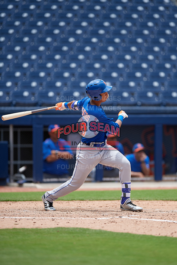 GCL Mets designated hitter Mark Vientos (15) hits a single during the second game of a doubleheader against the GCL Nationals on July 22, 2017 at The Ballpark of the Palm Beaches in Palm Beach, Florida.  GCL Mets defeated the GCL Nationals 4-1.  (Mike Janes/Four Seam Images)
