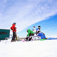 Snowboarders on Whistler Mountain, Whistler Ski Resort, BC, British Columbia, Canada