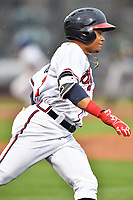 Northern Division right fielder Randy Ventura (11) of the Rome Braves runs to first base during the South Atlantic League All Star Game at Spirit Communications Park on June 20, 2017 in Columbia, South Carolina. The game ended in a tie 3-3 after seven innings. (Tony Farlow/Four Seam Images)