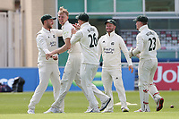 Lyndon James of Nottinghamshire celebrates with his team mates after taking the wicket of Adam Wheater during Nottinghamshire CCC vs Essex CCC, LV Insurance County Championship Group 1 Cricket at Trent Bridge on 9th May 2021