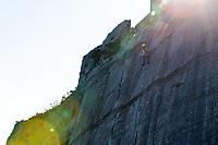 Jo Stadden on the Seamstress VS 4c, Serengeti area of Dinorwic Slate Quarries, North Wales