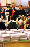 Pictured L-R: MP Geraint Davies with Peter May. Friday 09 June 2017<br /> Re: Counting of ballots at Brangwyn Hall for the general election in Swansea, Wales, UK