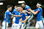 Motherwell v St Johnstone…20.10.18…   Fir Park    SPFL<br />Jason Kerr celebrates with Matty Kennedy, Scott Tanser, Chris Kane and Joe Shaughnessy after scoring the winning goal<br />Picture by Graeme Hart. <br />Copyright Perthshire Picture Agency<br />Tel: 01738 623350  Mobile: 07990 594431